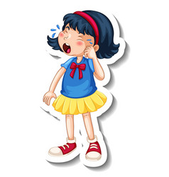 Sticker template with a girl crying cartoon vector