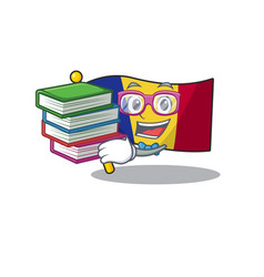 Student with book romanian flag hoisted on vector