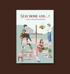 Suggestions for activities when stay at home vector