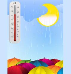 sun rain umbrella and thermometer background vector image