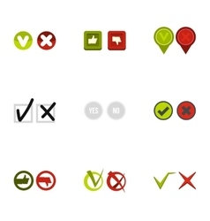 Tick icons set flat style vector