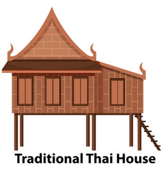Traditional thai house on white background vector