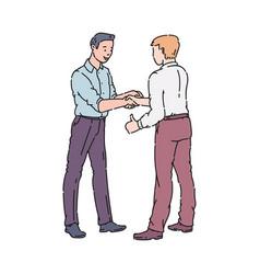 Two men doing a handshake vector