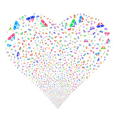Universal army knife fireworks heart vector