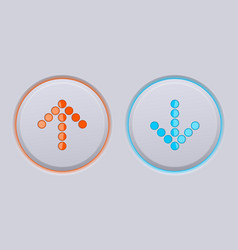 Up and down round gray buttons with blue and vector