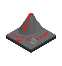 Volcano landscape icon isometric 3d style vector image