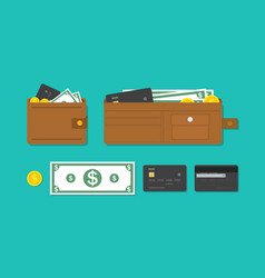 wallet card and cash money icon purse vector image