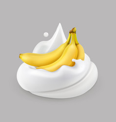 Whipped cream and banana icon vector