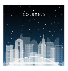 Winter night in columbus night city in flat style vector
