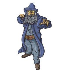 Wizard casting a spell vector