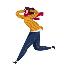 Woman running from danger physical harassment vector