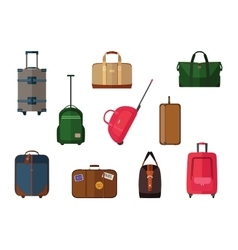 Different types of baggage carry-on luggage bags vector image vector image