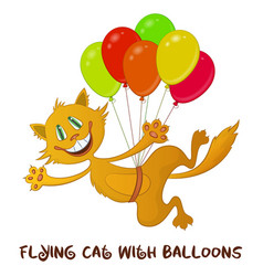 Funny cat with balloons vector
