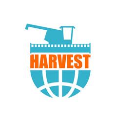 Harvest logo agriculture emblem combine harvester vector