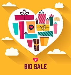 Holiday gifts in heart shape vector image vector image