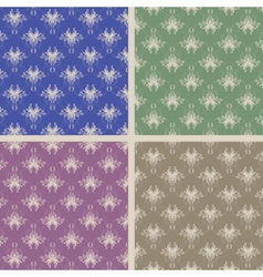 Set of four damask seamless vector image