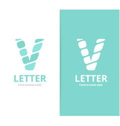 unique letter v logo design template vector image