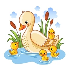 a duck and ducklings vector image vector image