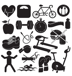 Health and fitness icons collection vector