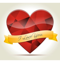 I Love You heart diamond vector image