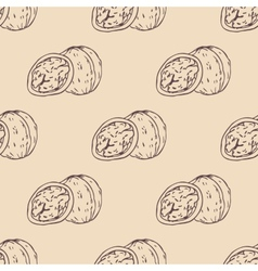 Outline walnut seamless pattern vector image