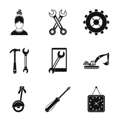 pinion icons set simple style vector image