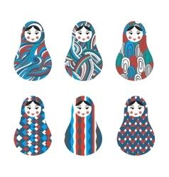Set of russian traditional wooden toys babushka vector image vector image