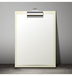 Blank white paper sheet in a clipboard of standing vector image vector image