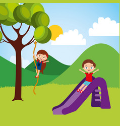 cute happy little kids playing slide climbing tree vector image