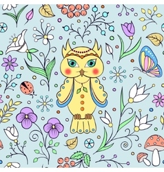 cute owl and abstract flowers vector image