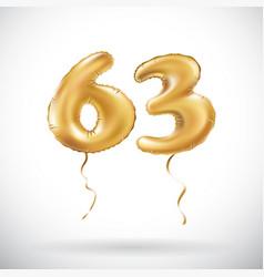 golden number 63 sixty three metallic balloon vector image vector image