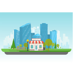 store and big city vector image vector image