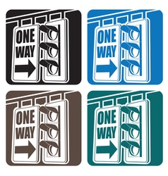 Traffic light and sign vector