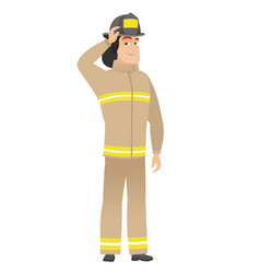 young caucasian firefighter scratching his head vector image vector image