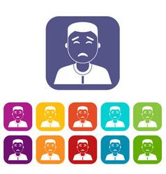 asian man icons set flat vector image vector image