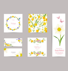 collection of greeting cards with blossom vector image