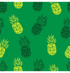 Green geometric pineapple seamless pattern vector image