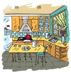 Kitchen Colored Sketch vector image