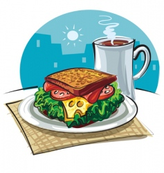 sandwich and coffee vector image