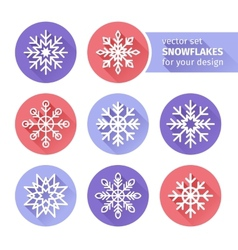 set of icons snowflakes flat design 1 vector image