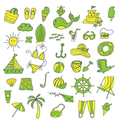 summer icons set green yellow vector image
