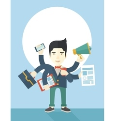 Young but happy japanese employee doing vector image vector image