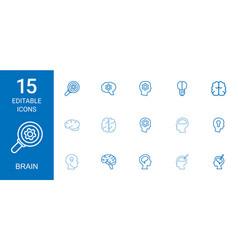 15 brain icons vector image
