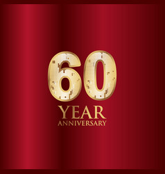 60 year anniversary gold with red background vector