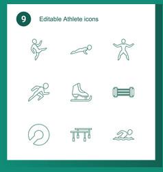 9 athlete icons vector