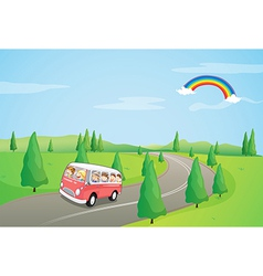 A bus with kids running along the curve road vector image