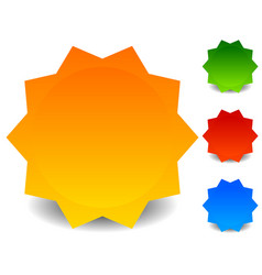 Badge starburst shape in 4 colors badge with vector
