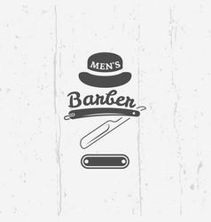 barber shop straight razor vintage emblem vector image