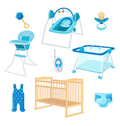 Bedroom furniture for newborn boy on white vector