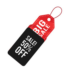 big sale 50 off black red tag banner image vector image